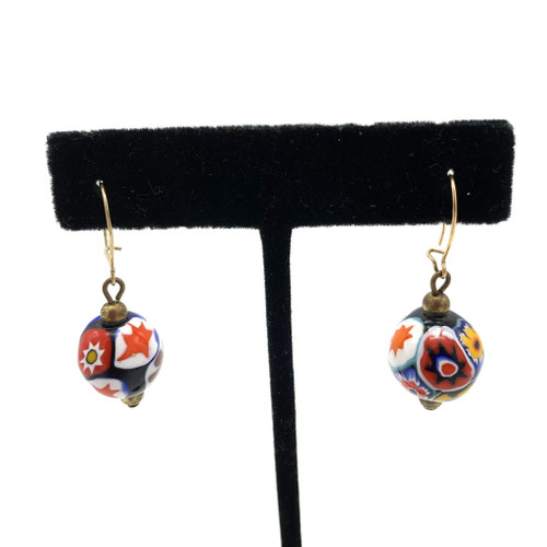 1970s Handcrafted Round Blown Glass Earrings