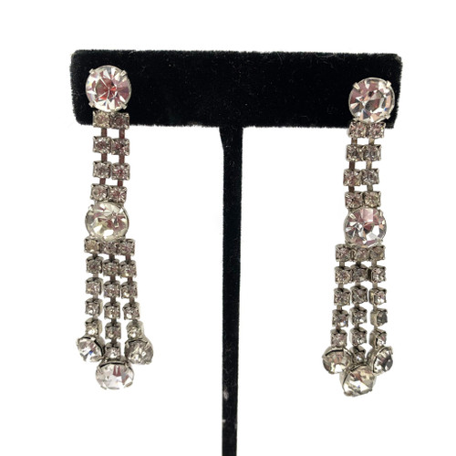 1950s Long Rhinestone Chandelier Style Earrings
