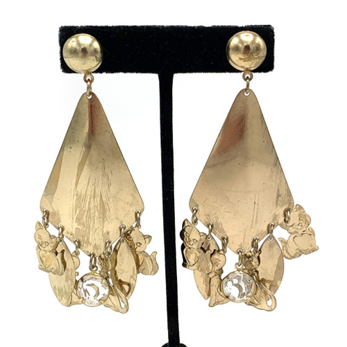 1970s-80s Metal Cat Charm Earrings