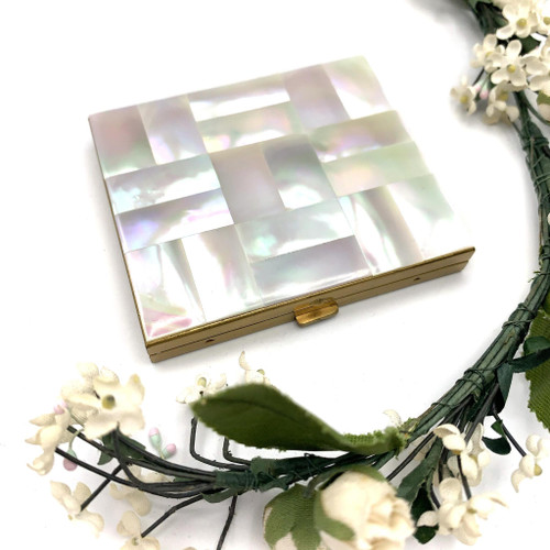 1950s Mother Of Pearl Square Mirrored Makeup Compact