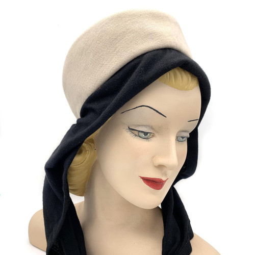 1950s-60s Filbert Orcel Paris Wool Hat With Scarf