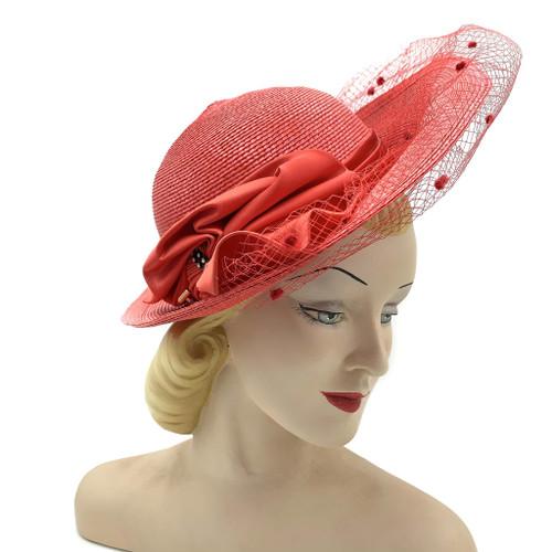 1980s-90s SCHIAPARELLI Large Silk Ribbon Veiled Straw Hat