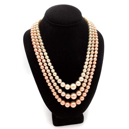 1950s - 60s Multi Strand Gradated Pink Bead Necklace
