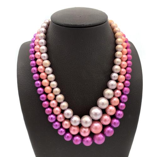 1950's Multi Strand Color Trio Beaded Necklace