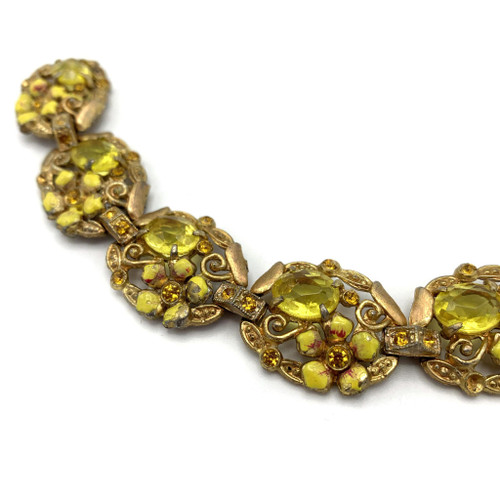 1950s Floral Detail Rhinestone Bracelet