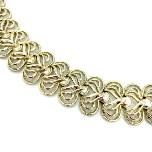 1950's Coro Brass Heart Shaped Links Bracelet