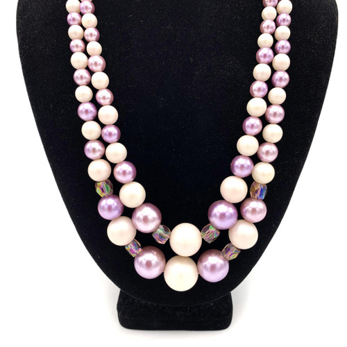 1950s - 1960s Long Purple Beaded & AB Crystal Necklace