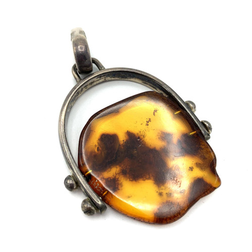 Vintage Amber Sterling Silver Setting Pendant