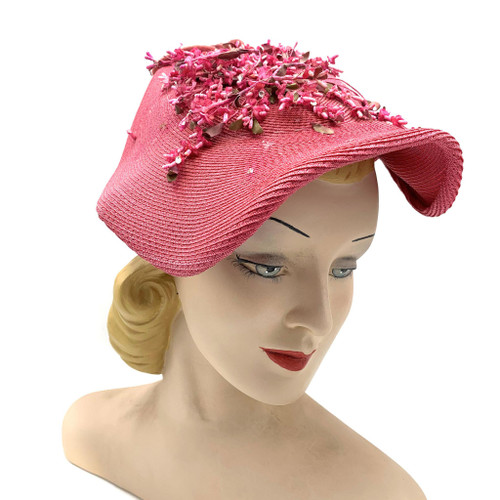 1940s Floral Folded Front Brim Straw Hat