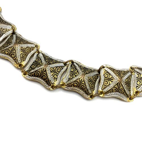 Vintage Toledo Damascene Square Link Bracelet