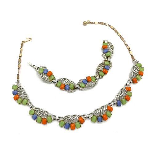 1960s Multi Color Polished Stone 2 Piece Necklace And Bracelet Set