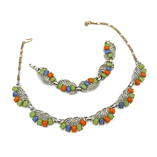 1960s Multi Color Polished Stone 2 Piece Necklace And Bracelet Set