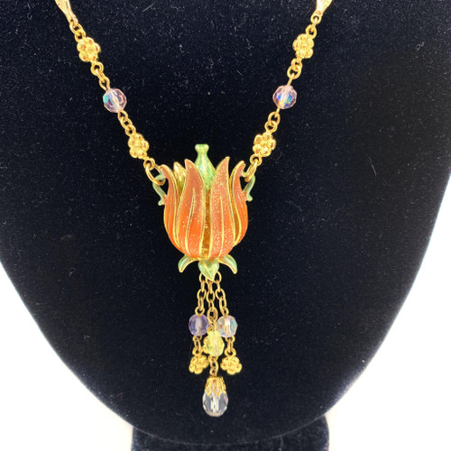 90s - Y2k Vintage Kirks Folly Lotus Pendant Necklace With Hidden Fairy