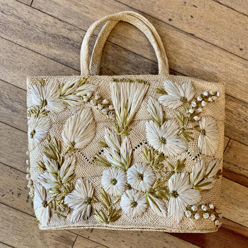 1950s Contrasting Decorative Floral Top Handle Straw Bag
