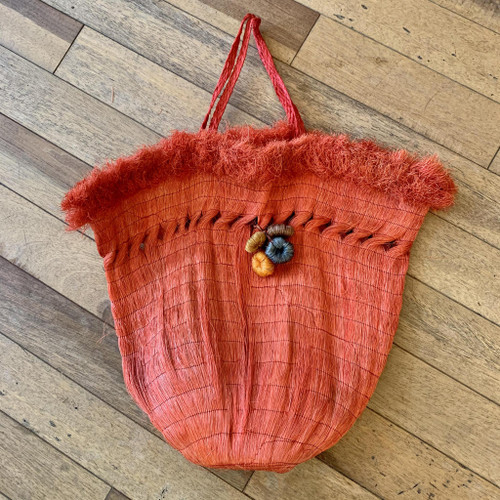 1950s Made In Mexico Woven Red Top Handle Straw Bag