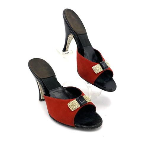 1950s Beth Levine Rhinestone Bow & Heel Detail Leather Spring-O-Lator Kitten Heels