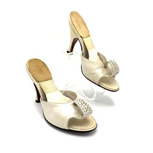 1950's Beth Levine Rhinestone Loop Detail Leather Open Toe Spring-O-Lator Kitten Heels