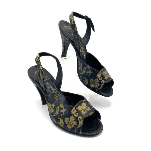 1950's Harry Chester Gold Floral Detail Open Toe Leather Kitten Heel Slingbacks