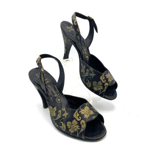 1950's Harry Chester Gold Floral Detail Open Toe Leather Kitten Heel Slingbacks