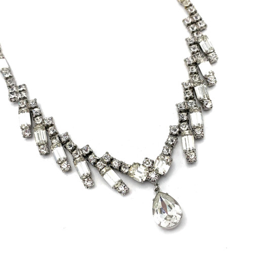 1940s - 50s Baguette Rhinestone Necklace With Tear Drop Detail
