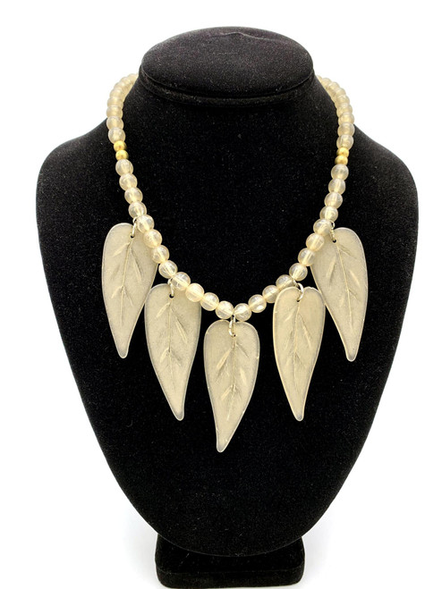 1980s Lucite Leaf Beaded Necklace