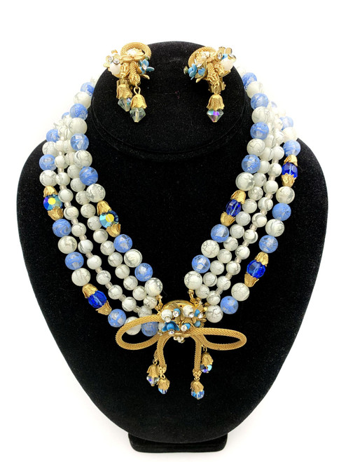 1950s Bow Detail Four Strand Beaded Crystal Necklace Earring SET
