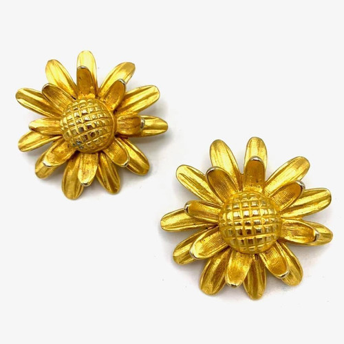 1990s 3D Jumbo Flower Clip On Earrings