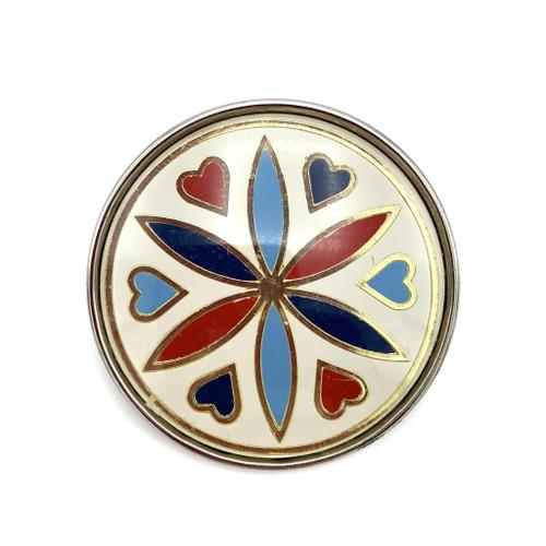 1980s Round Dutch Style Heart Flower Brooch