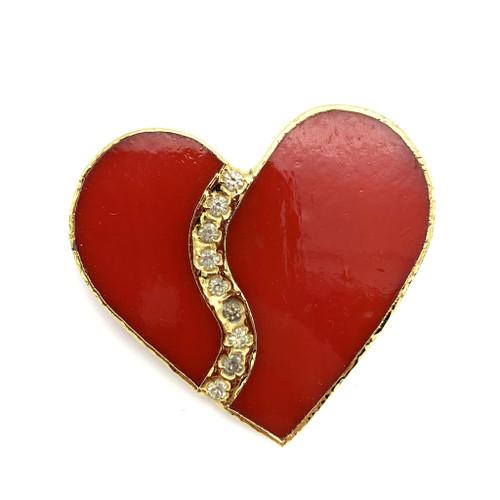 1980s Rhinestone Wave Detail Jumbo Glass Heart Brooch