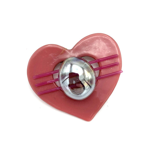 1980s does 50s Glass Orb Detail Heart Brooch