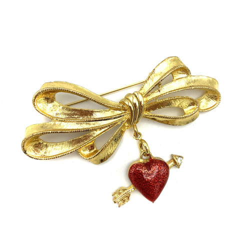 1980s Ribbon Bow Enamel Heart Charm Pin Brooch