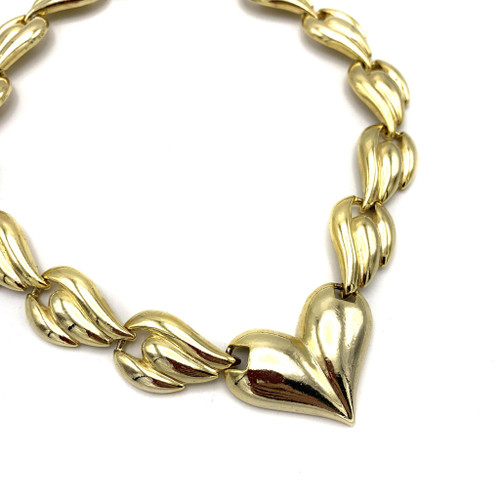 1980s Golden Winged Heart Chain Link Necklace