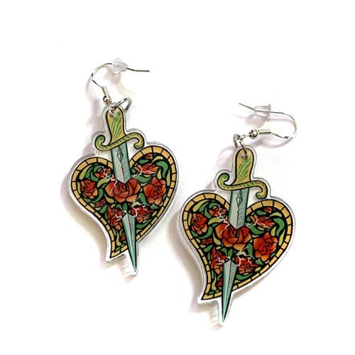 Stained Glass Sword In Heart Earrings