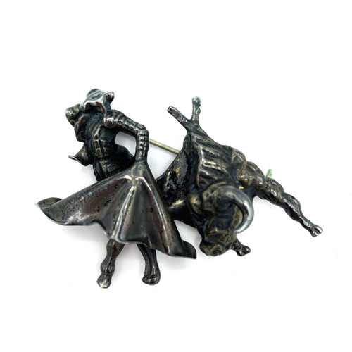 1950s Sterling Silver Matador Bull Fighter Brooch