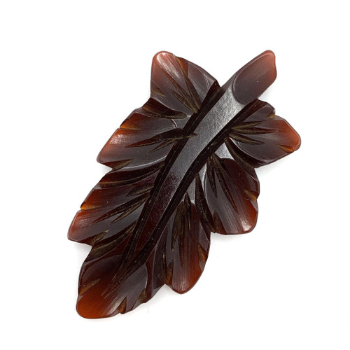 1930s - 40s Bakelite Carved Leaf Jumbo Dress Clip
