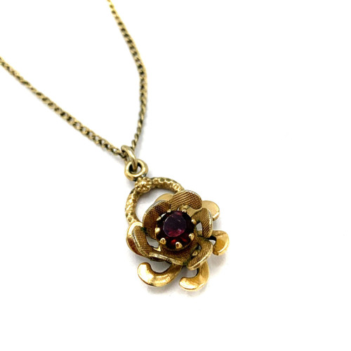 1950s Red Crystal Rose Gold Filled Pendant Necklace