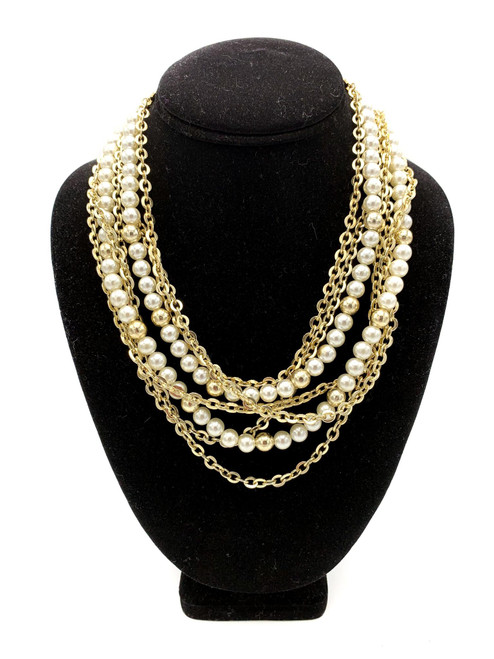 1950s Multi Strand Pearl & Chain Beaded Necklace