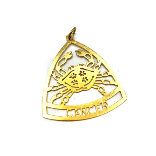 1970s Zodiac Cancer Metal Pendant