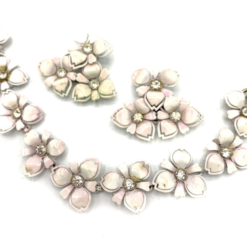 1950s Powder Pink Rhinestone Floral Bracelet & Clip On Earring Set