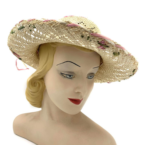 1950s Pastel Floral Straw Hat