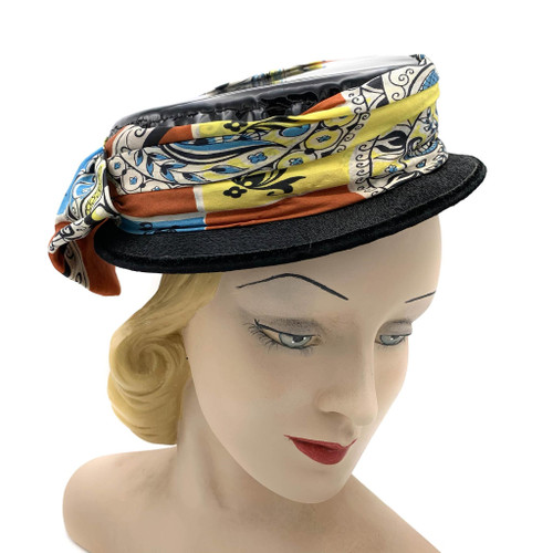 1960s Patent Leather Top Silk Scarf Hat