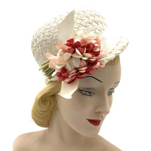 1960s Cherry & Webb Flower Front Detail Straw Hat