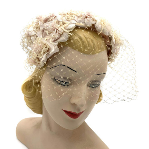 1940s - 50s Amy Of New York Pink Floral Veil Hat