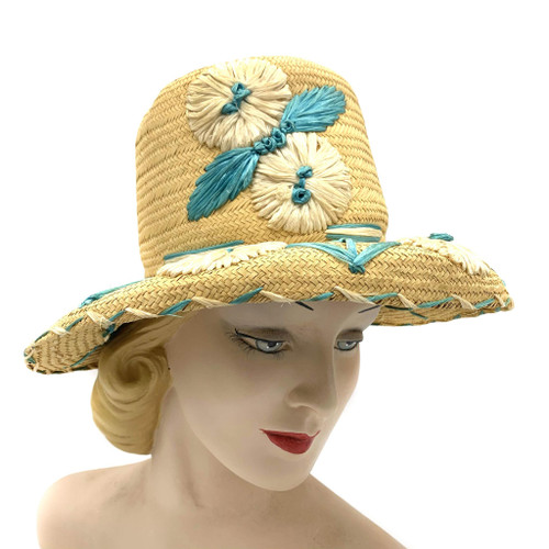 Mid Century Floral Straw Hat