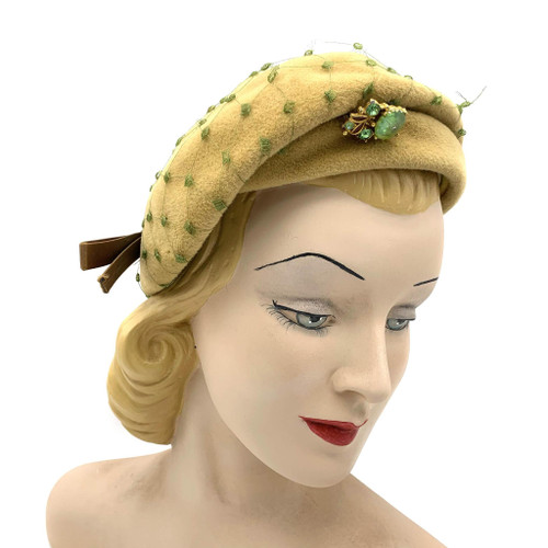 1950s-60s Clemar By Wesco Velour Yellow Green Veil Overlay Hat