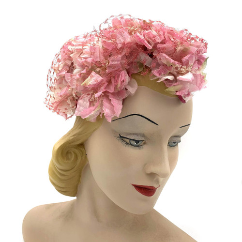 1950s Pink Floral Hat With Veil Overlay