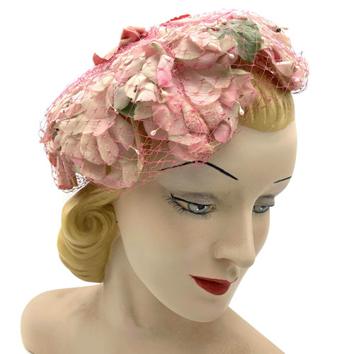 1950s Ribbon Top Pink Floral Hat With Veil Overlay