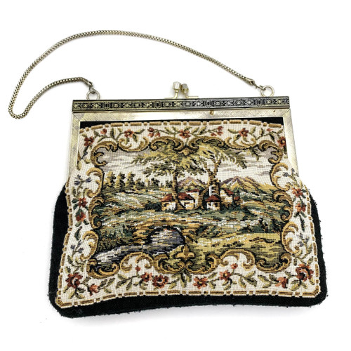 1960s Woven Tapestry Framed Handbag
