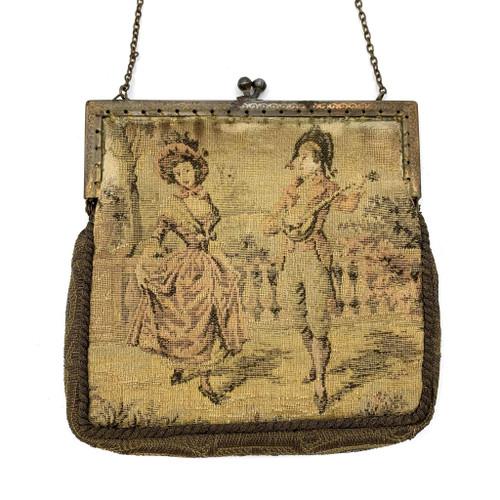 1800s Loomed Woven Framed Purse