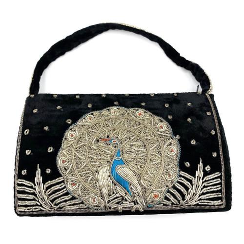 1950s Black Velvet Zardozi Embroidered Peacock Purse